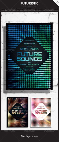 Futuristic Flyer / Poster 4  #GraphicRiver        Futuristic Flyer / Poster 4 Promote any kind of music event. Trance, Electro, Concert, Festival, Party or weekly event in a music club and other kind of special evenings. Help File included.    2 psd Files  Print Re