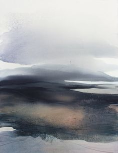 Grande acquerello - originale astratto paesaggio astratto, arte contemporanea / moderna pittura / espressionismo astratto bianco e nero