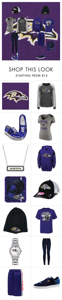 """Baltimore Ravens"" by jenabbyreid on Polyvore featuring The Bradford Exchange, NIKE, New Era, Game Time, Urban Bliss and Puma"