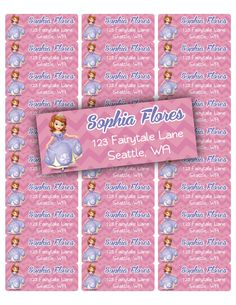 Sofia the first Address labels by TJKprintablesInc on Etsy, $5.75
