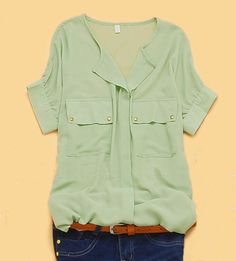 Green V-neck Concealed Placket Short Sleeve Chiffon Pockets Shirt