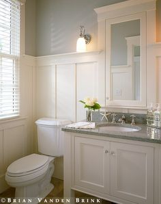 Bathroom Wainscoting on both sides,plus light blue on the wall above,plus white medicine cabinet with some blue detail, white cabinet, but what about top for cabinet?