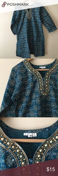 Blue Indian Kurti Blue Indian top with gold detailing Tops Tunics