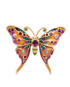 Jay Strongwater 'Arlyn' Grand Butterfly Pin ~ Enamelled and inset with Multi Colored Crystals ♥≻★≺♥ Insect Jewelry, Bird Jewelry, Butterfly Jewelry, Animal Jewelry, Butterfly Pendant, Jewlery, Crystal Brooch, Crystal Jewelry, Gemstone Jewelry