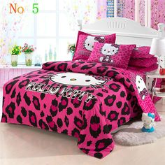 Hello Kitty Bedroom Sets Girls 100 cotton 4 pcs hello kitty bedding set king queen twin size bed