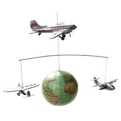Around the World Flight Hanging Mobile Airplanes