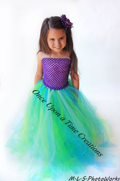 The Little Mermaid Inspired Princess Tutu Dress - Birthday Outfit, Halloween Costume - Girls Size 6 8 10 12 - Disney Ariel Inspired