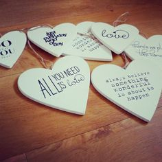 Wooden Hearts with quotes - coasters