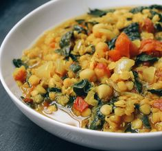 CURRY RED LENITL STEW WITH KALE