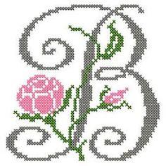 motif-Point de croix-Abc Rose anglaise-B