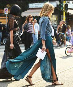 denim shirt and maxi skirt combo.