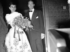 Audrey Hepburn and Mel Ferrer attending the Netherlands' premiere of Sabrina, November Audrey Hepburn was wearing Givenchy Sabrina 1954, Sabrina Dress, Golden Age Of Hollywood, Classic Hollywood, Audrey Hepburn Pictures, Cecil Beaton, British Actresses, My Idol, One Shoulder Wedding Dress