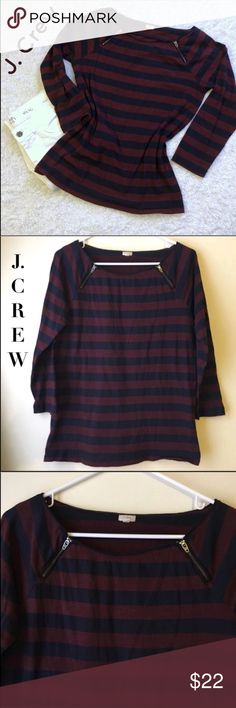 J. Crew Navy & Burgundy Stripe Top In excellent condition. No stains/rips. Has a lot of stretch. Measurements are above. Any question just ask me I'm glad To answer it. Bundle to save $$ Offers are welcome :) J. Crew Factory Tops
