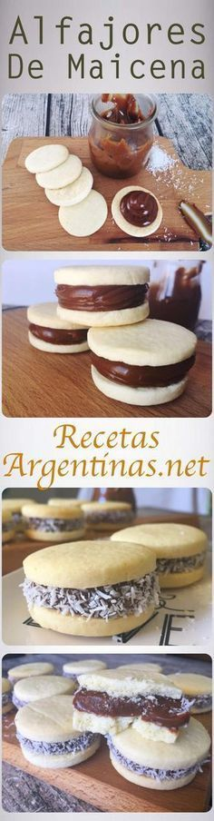 Alfajores Cookie Desserts, Cookie Recipes, Dessert Recipes, Sweet Cakes, Cupcake Cakes, Cupcakes, Love Food, Sweet Recipes, Sweet Treats