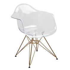 American Atelier Banks Clear Arm Chair With Gold Legs