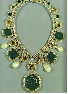 Iran Empress Necklace>Empress NecklaceCoronation Empress Necklace with rare yellow diamonds, emeralds, and fine pearls.