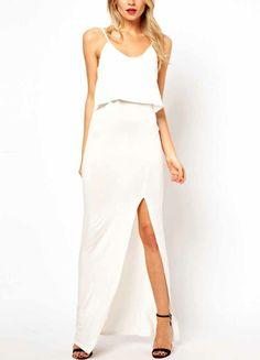 White Spaghetti Straps Slit Detail Dress