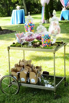 Garden Party Candy Cart at an event by Blue Plate Catering in Chicago