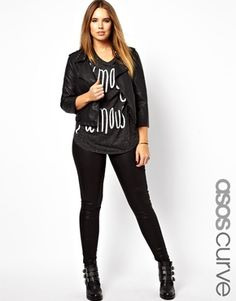 Image 1 ofASOS CURVE High Waisted Jean In Coated Denim