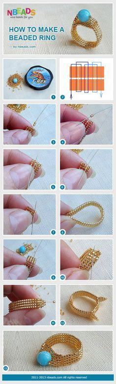 Cómo hacer un anillo con cuentas - How to make a beaded ring. nice tutorial . . . . Trish W