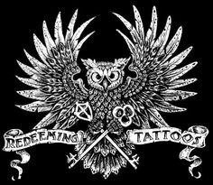 Redeeming Tattoos in Tyler Texas 2012 shop logo drawn and created by Floyd Guinn.