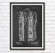 Golf Caddy Patent Wall Art Poster by PatentPosters on Etsy