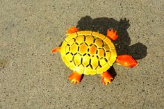 Vintage Enamel Brooch Turtle Brooch Yellow and by PaperWoodVintage, $12.00
