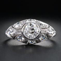 .90 Carat Art Deco Diamond Engagement Ring - 10-1-5133 - Lang Antiques