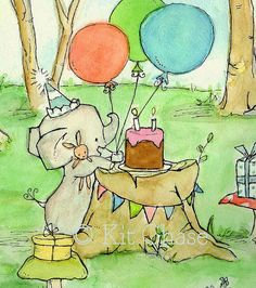 Happy Party To Us -- Archival Print -- Children's Art