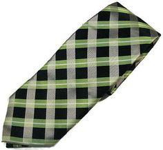 Valerio Garati Black Green White Gray Plaid Polyester Necktie Tie