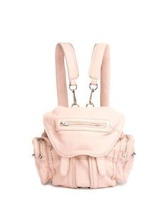 ALEXANDER WANG Mini Marti Leather Backpack, Pale Pink. #alexanderwang #bags #leather #lining #backpacks #