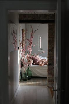 Bedroom with cherry blossom