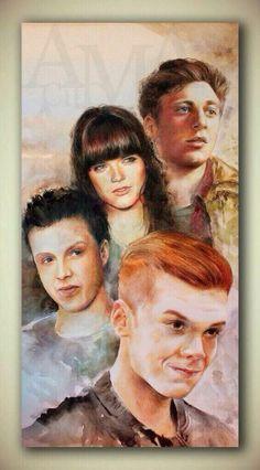 Fan Art featuring Lip Gallagher, Mandy Milkovich, Mickey Milkovich, & Ian Gallagher by @queldridha