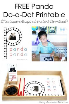This free panda do-a-dot printable is a Montessori-inspired printable for home or classroom. It's a versatile instant download for phonics and unit studies. Perfect for a panda theme, bear theme, Asia theme, Chinese New Year theme, or study of China - Living Montessori Now #Montessori #homeschool #pandas #bears #pandatheme #freeprintable #ChineseNewYearlivingliving