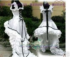 Chobits Cosplay Costume Black and White Lolita Dress