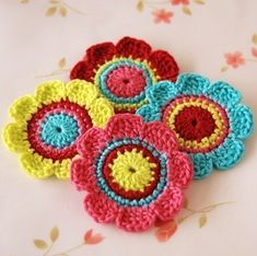 Pure cotton Applique 4 pcs by Mylittlepalette on Etsy Love Crochet, Crochet Motif, Crochet Doilies, Beautiful Crochet, Baby Blanket Crochet, Crochet Baby, Knit Crochet, Crochet Toys, Crochet Flower Patterns