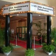 Hollywood/Oscar party Marquee Entry. We could possibly make something like this and use white Christmas lights???