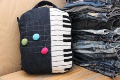 Denim recycled backpack, denim backpack , upcycled denim backpack , jeans kids toddler backpack , music notes , denim bag , girls music bag by SecondBirthday on Etsy