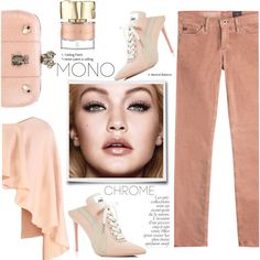dusty rose monochrome by paperdollsq on Polyvore featuring Merci Me London, AG Adriano Goldschmied, Puma, Alexander McQueen, Smith & Cult, By Terry and monochromepink