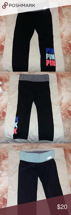 Reversible VS Crops Own two pairs of yoga crops with one purchase. PINK Victoria Secret Workout Crops. One side is grey with graphics reverse side is light blue waist band. PINK Victoria's Secret Pants Ankle & Cropped