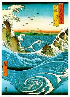 Studio B Navarro Rapids Poster: Beautiful example of the renowned Japanese artist of the Century, Katsushika Hokusai. This classic fine art image portrays the Navarro Rapids and will please any fan of Japanese art. Art Asiatique, Art Japonais, Thinking Day, Illustration, Poster Prints, Art Prints, Block Prints, Japanese Painting, Japanese Prints