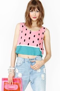 Watermelon top. Pink and green fabric, black dots.