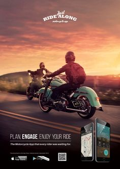 Sign up for the greatest motorcycle experience ever on a mobile app.  Just Ride Along. Plan, engage, enjoy your ride. The motorcycle app that every rider was waiting for.  Download free on the App Store. Adroid version soon to be release.  https://itunes.apple.com/us/app/just-ride-along/id970843918?mt=8&ign-mpt=uo%3D2