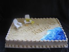 Beach Wedding The customer requested a sheet cake that she could travel 5+ hours with. It is for a beach wedding and she just wanted...