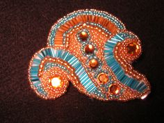 Turquoise and Gold Cabaret Bead Embroidery Hair by OlahCalifornia