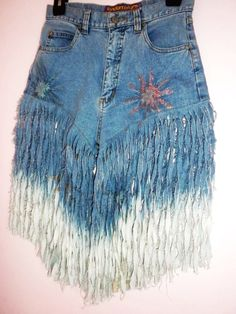Denim Festival Ombre Fringe Cut off Jean Shorts High Waisted Rihanna