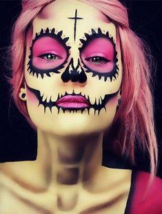 pink skull makeup idea for Halloween Halloween Makeup Artist, Amazing Halloween Makeup, Halloween Looks, Halloween Face Makeup, Halloween Costumes, Dead Makeup, Scary Makeup, Sugar Skull Makeup, Colorful Makeup