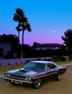 70s Dodge Purple Sunset & Palm Trees