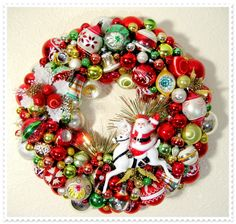 Wreath #3 -- I had so much fun making this wreath for my husband who loves Santa!