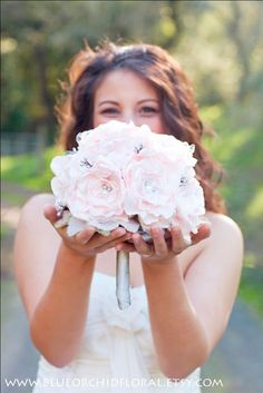 Love the pearls! Bridal Bouquet Pink & Grey Wedding by BlueOrchidBridal on Etsy, $225.00